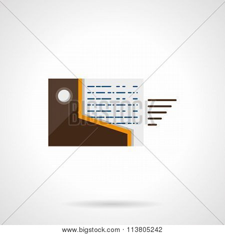 Documents transfer flat color vector icon