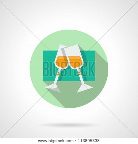 Round flat vector icon for pair champagne glasses