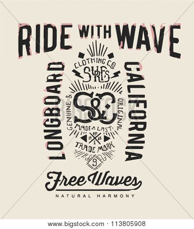 surfing typography