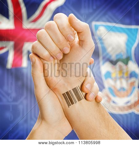 Barcode Id Number On Wrist And National Flag On Background - Falkland Islands