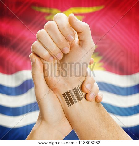 Barcode Id Number On Wrist And National Flag On Background - Kiribati