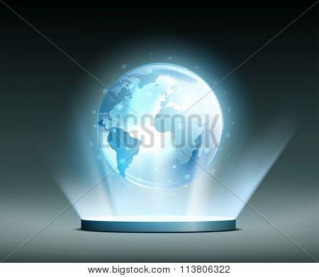 Global Network. Hologram.