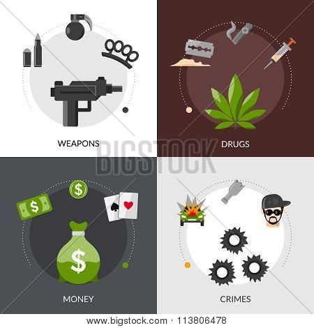 Gangster Flat Icons Composition