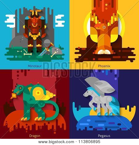 Mythical Creatures Minotaur Dragon Phoenix Pegasus