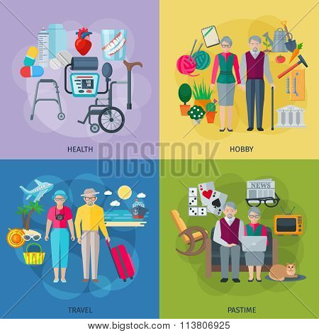 Pensioners Life Concept Icons Set