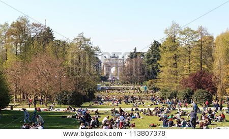 Parco Sempione (Simplon Park) in Milan with Arch of Peace in background