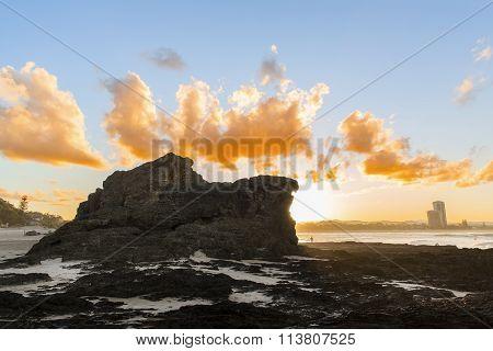 Currumbin Rock Sunset silhouette