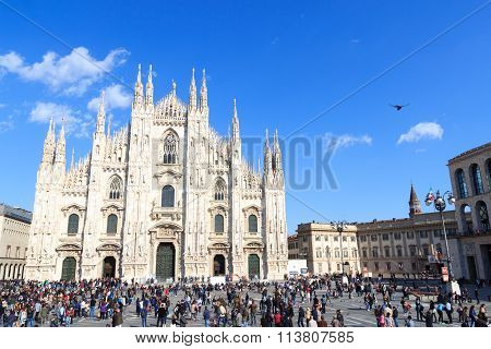 Milan Cathedral church with blue sky, Italy