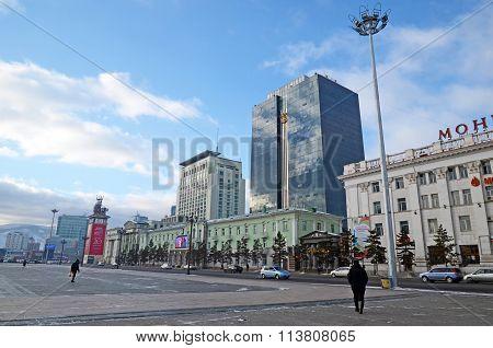 Ulaanbaatar, Mongolia - Dec, 03 2015: New Buildings On Sukhbaatar Square In Ulaanbaatar