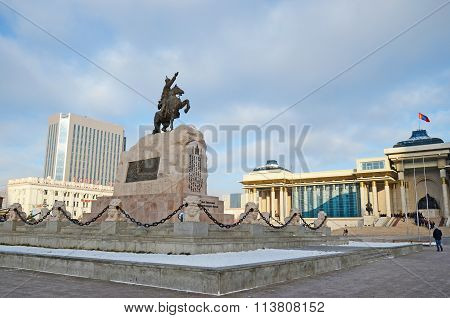 Sukhbaatar Monument On Central Square In Ulaanbaatar