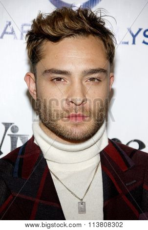 Ed Westwick at the Art Of Elysium's 9th Annual Heaven Gala held at the 3LABS in Culver City, USA on January 9, 2016.
