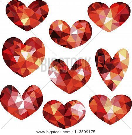 set of geometric polygonal hearts