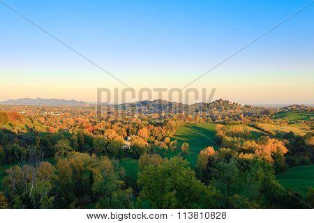 Autumn Hills Panorama, Italian Landscape