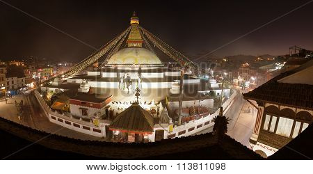 Evening View Of Bodhnath Stupa