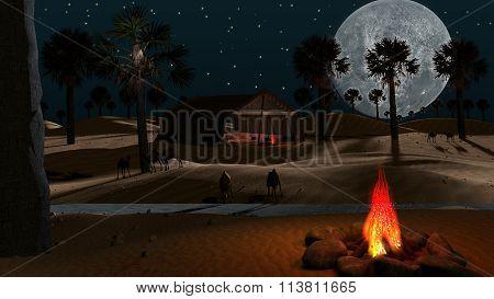 Arabic scene in the desert