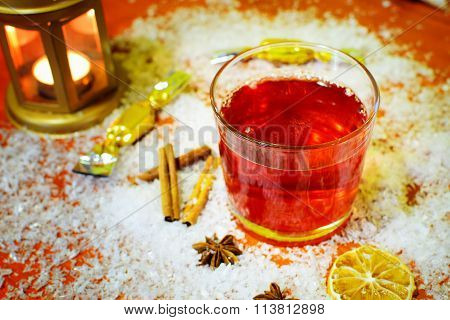 Winter Hot Drink Punch And Ingredients.