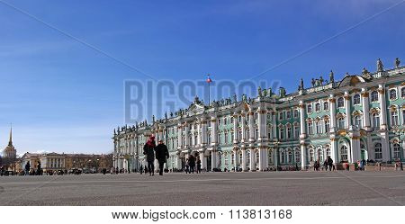 St. Petersburg, Russia - March 22, 2015: The Winter Palace - Hermitage - Early Spring.