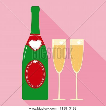 Valentine Champagne Bottle and Two Glasses in Flat Style
