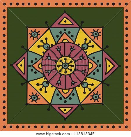 Decorative ethnic rosette in delicate colors