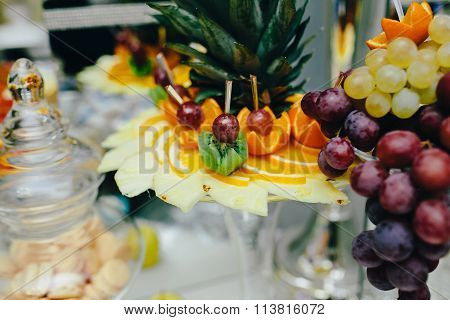 buffet with tropical fruit