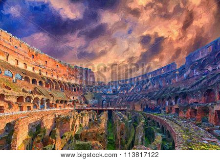Rome Colosseum Interior Digital Painting