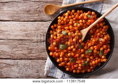 Indian Food Chana Masala On A Table. Horizontal Top View