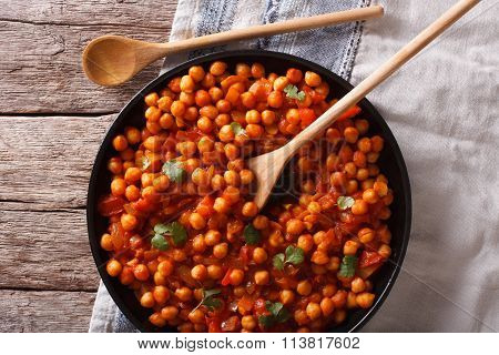 Indian Food Chana Masala On A Table Close-up. Horizontal Top View