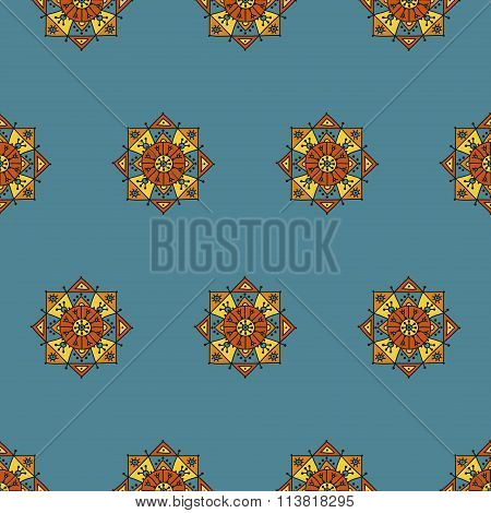 Bright seamless pattern on with ethnic rosettes a blue background