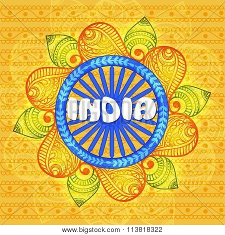 Blue Ashoka Wheel on floral decorated National Flag colours background for Happy Indian Republic Day celebration.