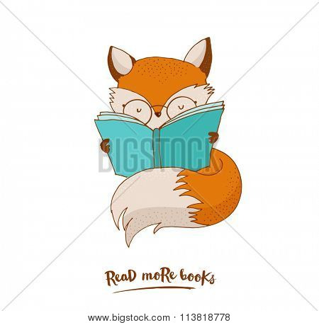 Smart Fox, reading book, greetin card
