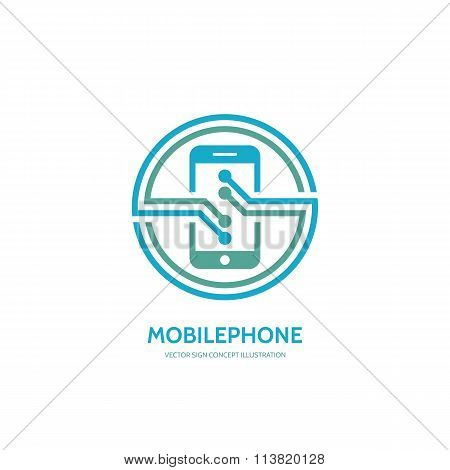 Mobile phone vector logo concept illustration. Smarthone vector logo creative illustration.