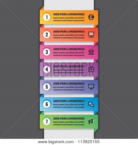Business infographic concept - horizontal colored banners in vertical structure - vector layout.