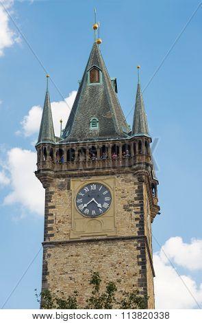 Visitors On Clock Tower Prague - Czech Republic