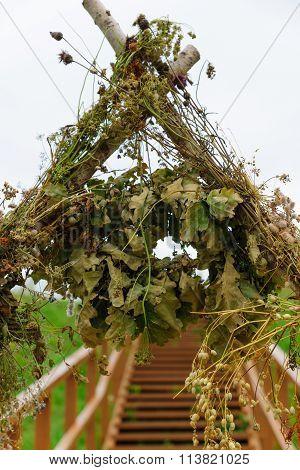 Pagan Wreath Over An Arch