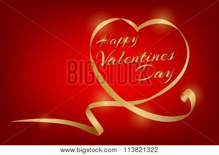 Happy Valentines Day In Vector Eps10 One Heart Ribbon Concept