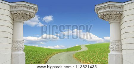 Background With Two Pillars, Winding Way And Cloudy Blue Sky