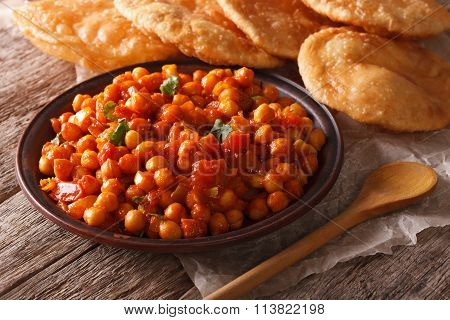 Indian Chana Masala And Puri Bread Close-up. Horizontal