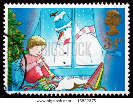 Postage Stamp Gb 1987 Playing Horn And Snowman