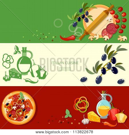 Pizzeria Cooking Pizza Italian Cuisine Ingredients Tomatoes Olives Cheese Banners