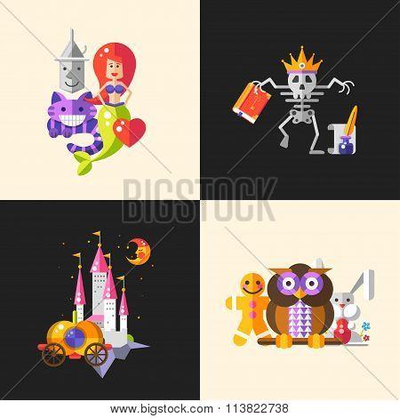 Fairy tales flat design magic cartoon characters compositions set