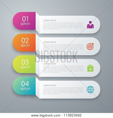 Vector illustration infographics four paper strips