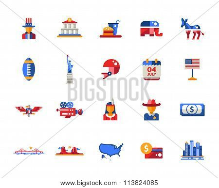 Flat design USA travel icons, infographics elements with  American symbols