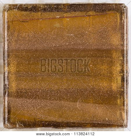 Brown Square Glass Smalt With Stripes