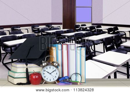Modern class room with book for education concept