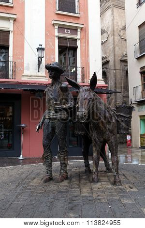 Monument to the driver of water. Granada, Andalusia. Spain.