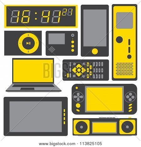 electronic gadgets vector icon set