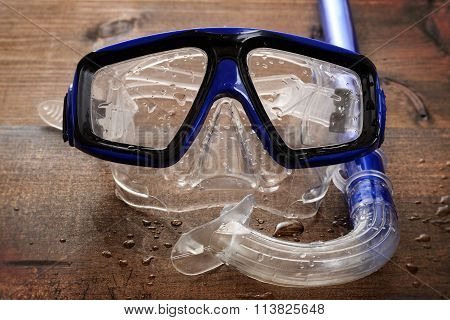 wet diving mask and snorkel