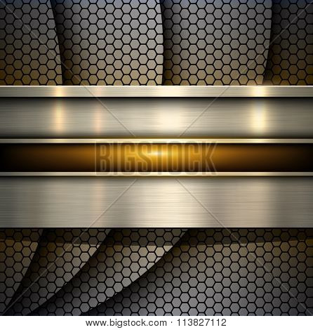 Background metallic with hexagons pattern texture, abstract vector illustration.