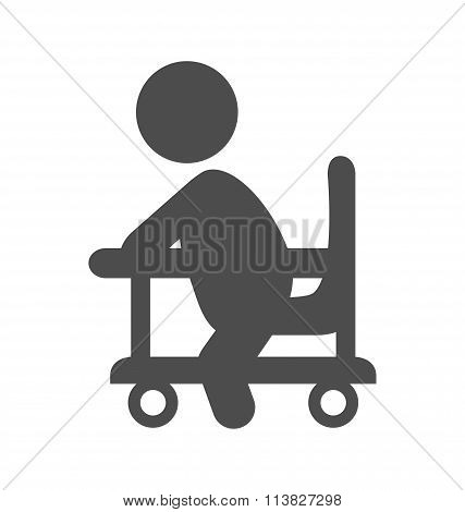 Baby in walker pictogram flat icon isolated on white