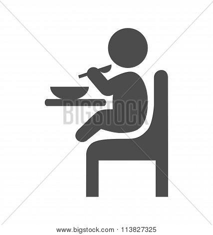 Baby eat pictogram flat icon isolated on white